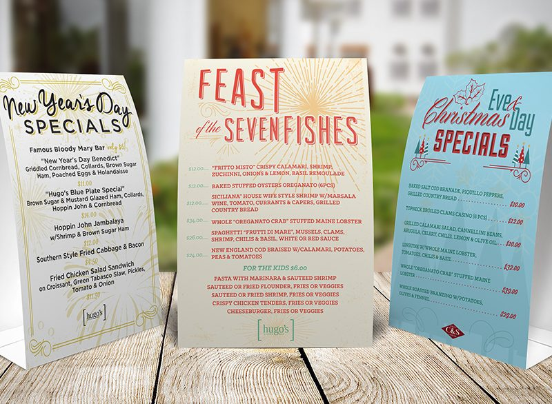 Restaurant Table Tent Design - Atlanta Print Design | Atlanta Graphic Design | Atlanta Restaurant Design