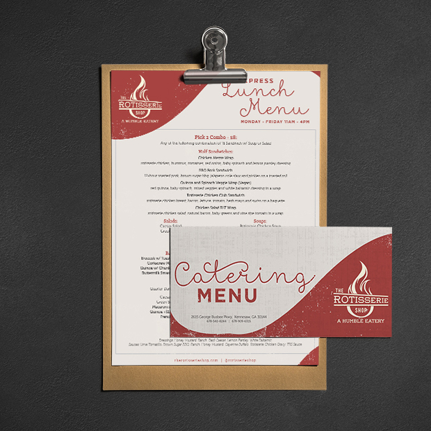 The Rotisserie Shop - Atlanta Restaurant Design, Atlanta Menu Design, Atlanta Branding, Atlanta Catering Menu