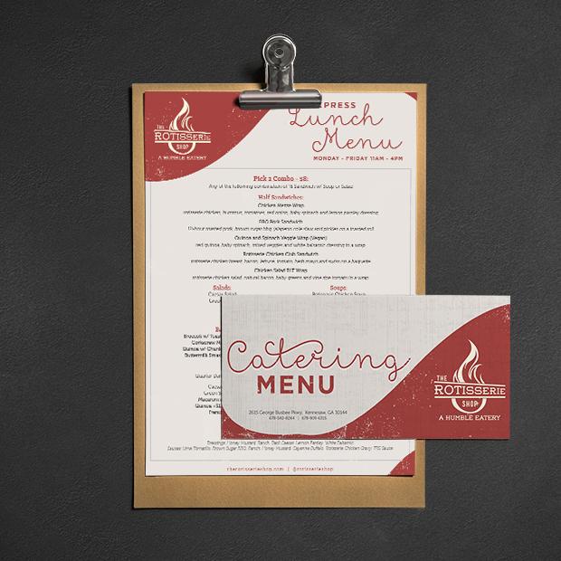 The Rotisserie Shop - Atlanta Restaurant Design, Atlanta Menu Design, Atlanta Branding, Atlanta Catering Menu